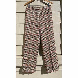 Gucci Check Plaid Cuffed Wool Trouser Pants